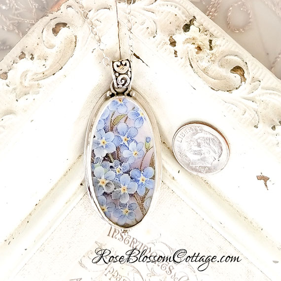 Forget me not long oval broken china jewelry pendant necklace aloadofball Image collections
