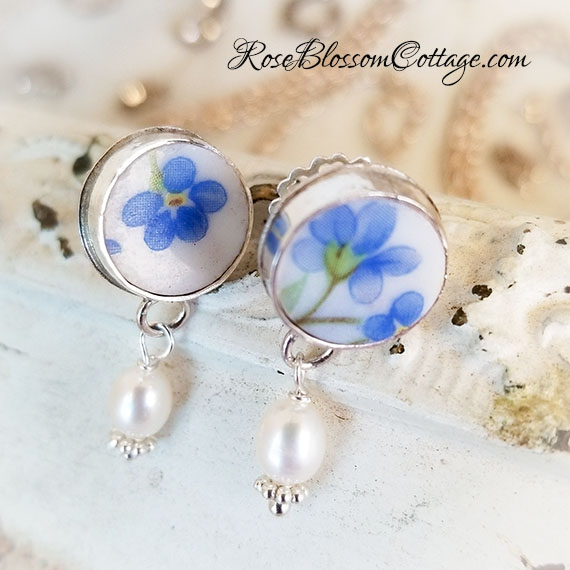 Forget me Not Broken China Jewelry Stud with Freshwater Pearl Drop Earrings