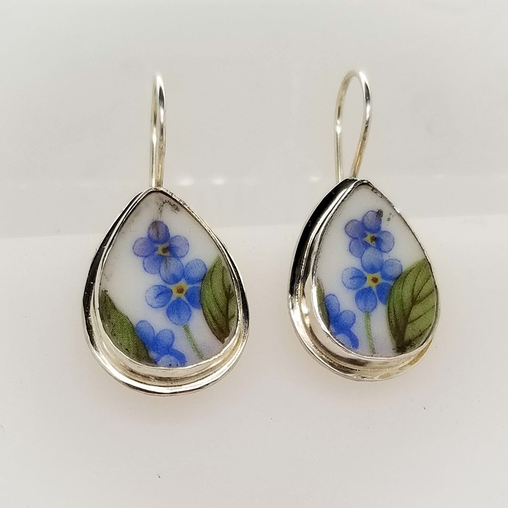 Forget Me Not Teardrop Broken China Jewelry Sterling Earrings