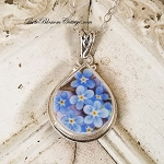 Forget Me Not Fat Teardrop  Broken China Jewelry Teardrop Pendant Necklace