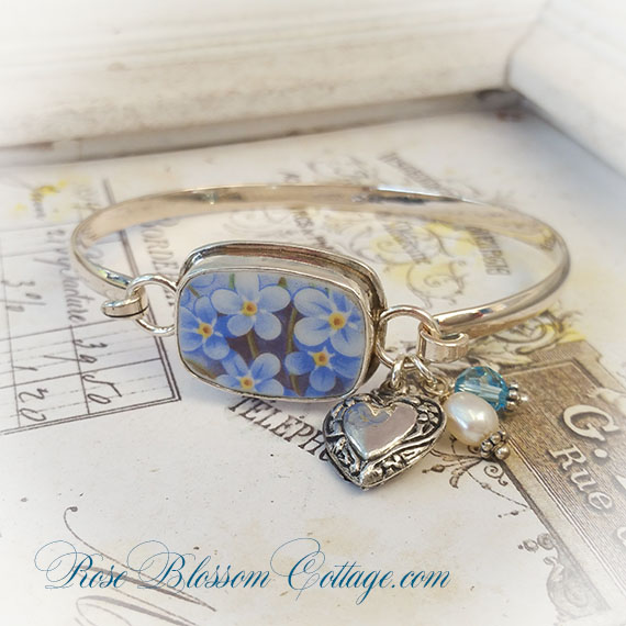 d4adb9feb Add to My Lists. Forget Me Not Porcelain Broken China Jewelry Heart  Sterling Bangle Bracelet
