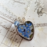 Forget Me Not Broken China Jewelry Sterling Heart Crystal Pendant Blue Glass Drop