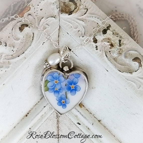 Forget Me Not Broken China Jewelry Sterling Heart Crystal Pendant