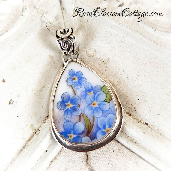 Forget me nots teardrop broken china jewelry sterling pendant necklace home broken china jewelry more pendantsnecklaces forget me nots teardrop broken china jewelry sterling pendant necklace aloadofball Image collections