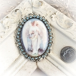 DeStash Christmas Guardian Angel Porcelain Crystal Pin