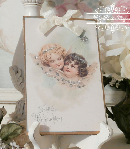 German Angels Vintage Image Glitter Plaque