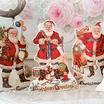 Nostalgia Old World Santa Display Easels Set of 4