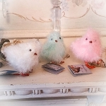Easter Feathered Mini Chicks Set 3  Pastel Colors