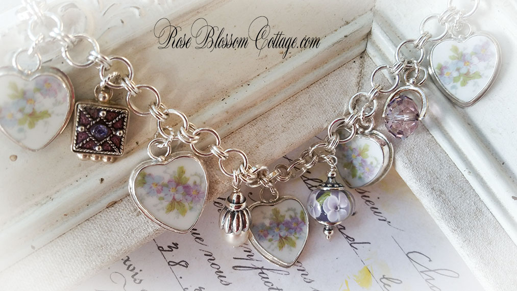 704bebeac Lilia Broken China Jewelry Sterling Crystal, Pearl Charm Bracelet w/  Options. Tap to expand