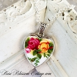 Royal Albert Old Country Roses Sterling Heart Broken China Jewelry Necklace