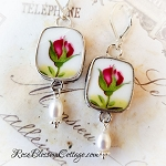 Old Country Roses Rosebuds Broken China Jewelry Cushion Shaped Earrings