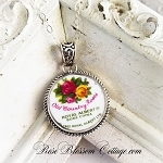 Backstamp Old Country Roses Royal Albert Sterling Round Broken China Jewelry Necklace