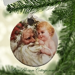 Santa and child Christmas Pierced Porcelain Ornament Xmas Charms