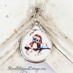 Christmas Winter Owl Teardrop Broken China Jewelry Pendant Necklace