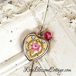 Yellow China Pink Rose Medallion Heart Sterling Charm & Crystal Pendant Necklace