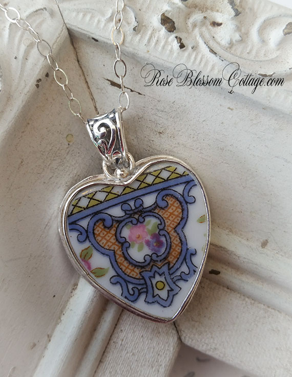 Antique medallion roses blue gold pink broken china jewelry sterling sale antique medallion roses blue gold pink broken china jewelry sterling pendant necklace aloadofball Images