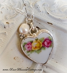 SOLD Yesterday, Today, and Tomorrow Broken China Jewelry Roses Heart Pendant Charm Necklace