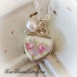 SOLD Austrian Two Pink Roses Petite Broken China Jewelry Charm Pearl Pendant Necklace