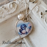 BESTSELLER Happy Blue Bird Pearl Broken China Jewelry Sterling Pendant Necklace