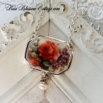 SOLD Roses Violets Broken China Jewelry Pendant Necklace Pearl Drop