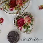 SOLD Royal Albert Old Country Roses Broken China Jewelry Sterlling V Necklace