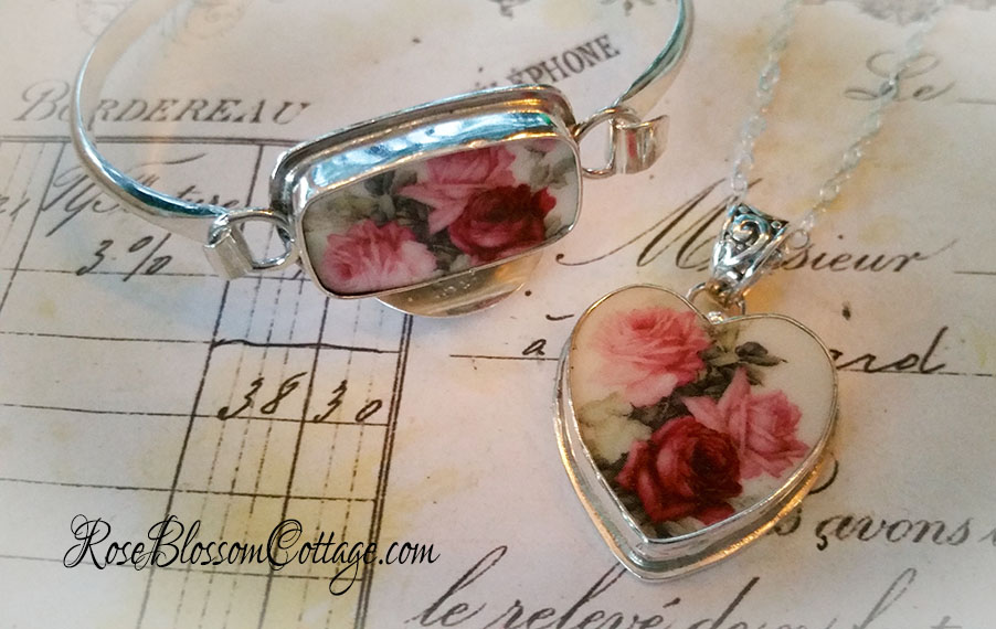 Pink red roses porcelain broken china jewelry sterling pendant quick view audiocablefo