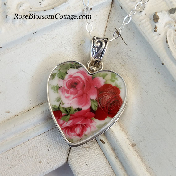 Red pink roses broken china jewelry heart pendant necklace home broken china jewelry more pendantsnecklaces red pink roses broken china jewelry heart pendant necklace aloadofball Image collections