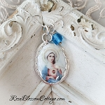 Sacred Heart of Mary Porcelain Sterling Oval Pendant Necklace