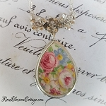 Pink Rose Chintz Tear Drop Floral Sterling Festoon Broken China Jewelry Necklace Pendant