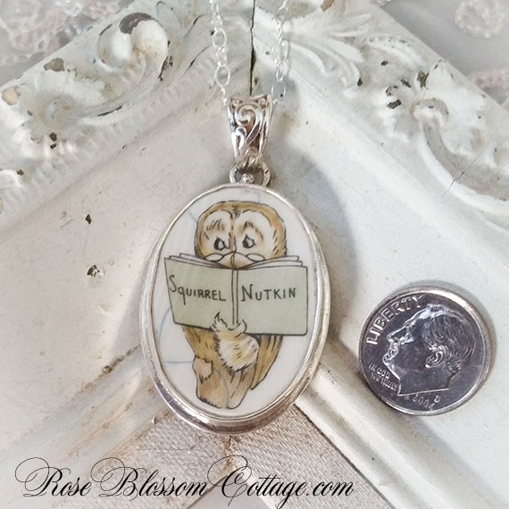 Broken China Jewelry Beatrix Potter Squirrel Nutkin Owl Oval Sterling Pendant