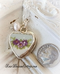SOLD Violets on Shabby Blue Petite Broken China Jewelry Charm Pearl Pendant Necklace