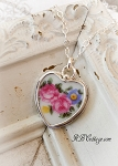 Floral Vibrant Pink Roses Vintage Broken China Jewelry Sterling Necklace  Choice of Crystals or Pearl