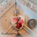 Shades of Pink & Red Roses Porcelain Broken China Jewelry Sterling Heart Pendant Necklace