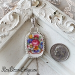 Springtime Flowers Broken China Jewelry Pendant Necklace Sterling