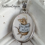 Broken China Jewelry Beatrix Potter Two Bad Mice Vintage Oval Sterling Pendant