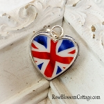 Union Jack British Flag Heart Broken China Jewelry Large Charm Pendant