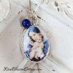 Mother Mary and Child in Navy Porcelain Sterling Oval Pendant Necklace
