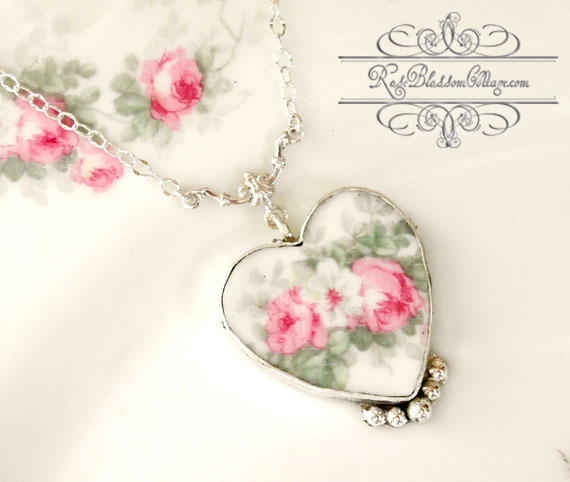Sold broken china jewelry pink rose pendant necklace audiocablefo