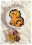 SALE For the Love of Honey:  Garfield the Cat Porcelain Sterling Pin Pendant