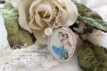 Mother Virgin Mary and Child Porcelain Sterling Necklace