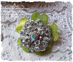 SALE Yummy Green Button Crystal Mother of Pearl Pin