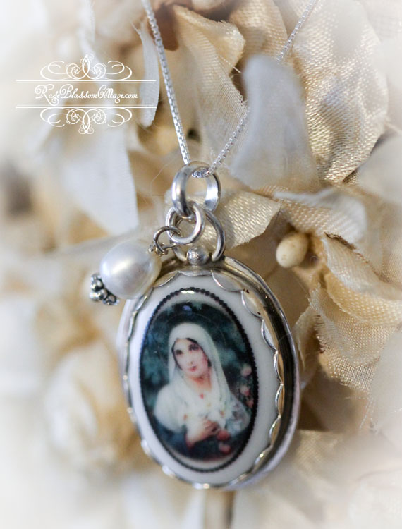 French Virgin  Mother Mary Porcelain Sterling Necklace