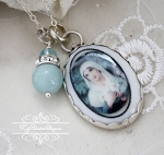 French Virgin Mary Amazonite Crystals Pendant Necklace