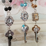 Romantic Redux Watch Necklace Vintage Key Aqua Crystal
