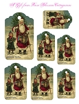 French Santa Christmas Gift Tags Digital Download