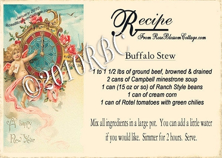FREE New Year Victorian Recipe Card Printable Download