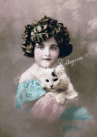 Antique Girl & Kitty Cat Photo
