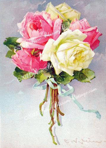 three roses ribbon downloadable digital print 5x7 and 8x10