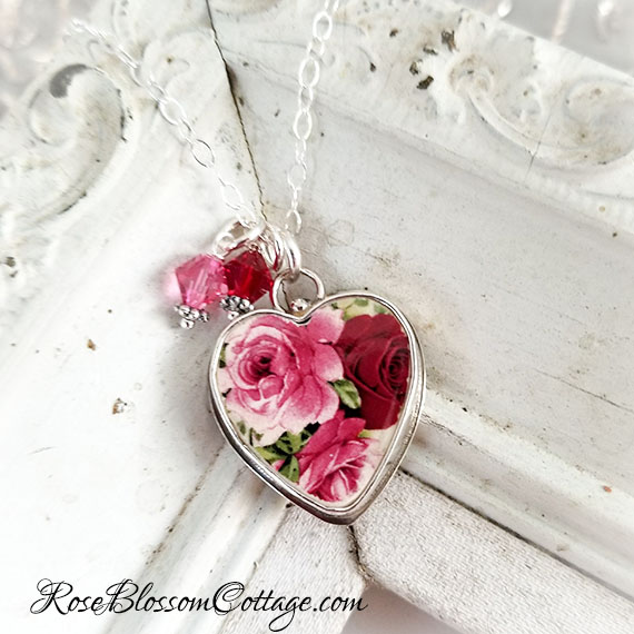Red Pink Broken China Jewelry Crystals Large Charm or Pendant Necklace