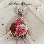 Red Pink Roses Porcelain Sterling Teardrop Broken China Jewelry Necklace